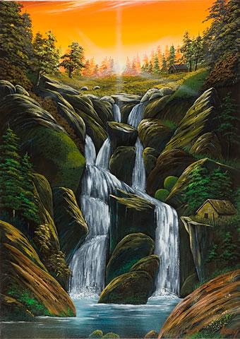 夕陽の渓流(4)