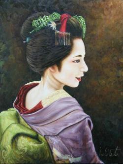 國際美術協会元名誉会員 岡本伊立(いりゅう) 油彩画「柳」F6号