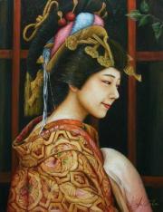 國際美術協会元名誉会員 岡本伊立 油彩画「太夫(弥生)」P10号