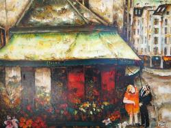 美術年鑑掲載画家 谷本ためひろ 油彩画「パリの花屋」F30号