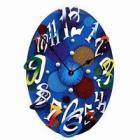 ブルーのモダンなハンドメイド掛け時計