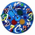 ブルーのモダンハンドメイド掛け時計